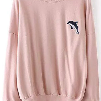Pink Dolphin Embroidered Sweatshirt