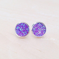 Purple Druzy Earring, Purple Post Earrings, Faux Druzy Earrings, Druzy Stud Earrings, Bride Earrings, Bridesmaid Jewelry, Bridesmaid Gifts
