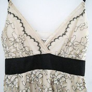 Lace Party Dress Empire Waist Black Floral Pattern - Size Small