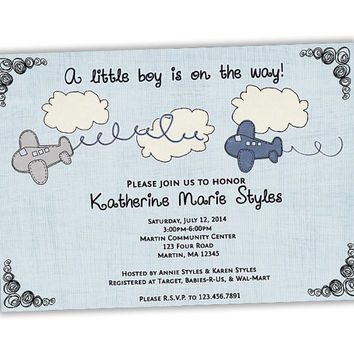 Vintage Airplane Baby Shower Invitations - Boy Baby Shower Invite - It's a Boy - A little boy is on the way - Planes Baby Shower - Aviation