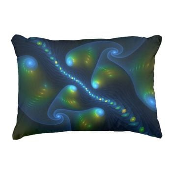 Fantasy Lights Abstract Blue Green Yellow Fractal Decorative Pillow
