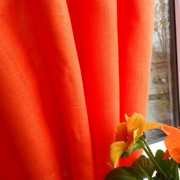 Pair of Natural Linen Curtain Panels. Rod-Pocket Curtain Panel. Orange Curtains