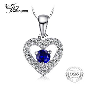 JewelryPalace Love Heart 0.6ct Round Created Blue Spinel Women Pendant Necklaces 45cm Box Chain 925 Sterling Silver Fine Jewelry