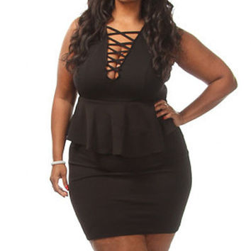 Crossed V Neck Sleeveless Big Girl Peplum Dress