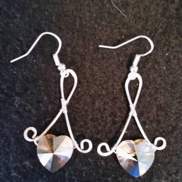 Swarovski heart earrings hand wrapped in silver artistic wire