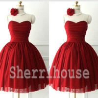 Wine Red Sweetheart Strapless Ball Gown Short bridesmaid dresses, Tulle Dress, Cocktail Dress ,Chiffon Prom Dress
