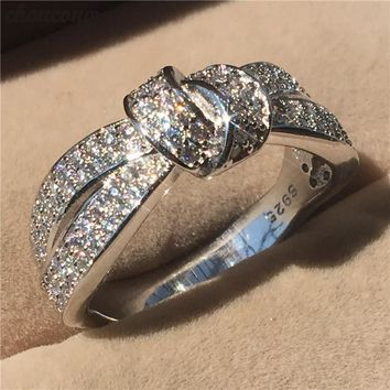choucong Lovers Bowknot Ring 5A Zircon Cz 925 Sterling Silver Engagement Wedding Band Rings for Women Men Gift