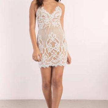 Lena Scallop Stripe Lace Bodycon Dress