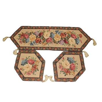 Tache Set of 3 Colorful Country Rustic Floral  Morning Awakening Table Runner Set (3089C-3PCST)