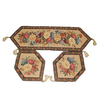 Tache Set of 3 Colorful Country Rustic Floral  Morning Awakening Table Runner Set (DB3089TR-B-3PCST)
