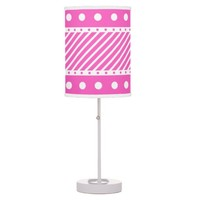 013 Pink White Polka Dots and Stripes Desk Lamp