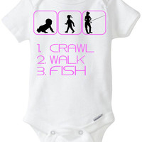 Baby Girl Pink - Crawl Walk Fish Silhouette New Baby Gift: Gerber Onesuit - great for a Fisherman  / new Dad or Grandpa who loves to fish!