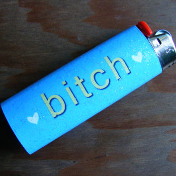 Glittery Bitch Bic Lighter Blue