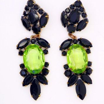 Large Czech Glass Dangling Clip Earrings Black and Pear Green