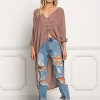 Mocha Hi-Lo Lace Up Blouse