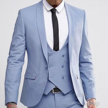 Men's Light Blue 3 Piece Suits Up To 6XL(Jacket, Pants, Vest)