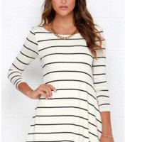Striped Deep V-Back A-Line Mini Dress