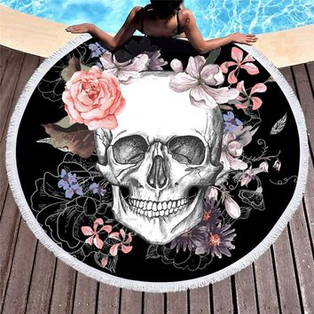 500G Round Beach Towel 150CM Skull flower Printed microfiber shower towels Circle Bohemia Bath Towels Thick Shawl Mat