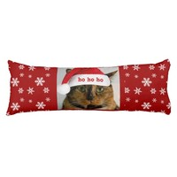 Cute Xmas Cat w Santa Cap on Red White Snowflakes
