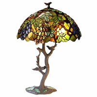 "2 Light Tiffany-Style Featuring Leafs & Grapes Table Lamp Oval Shape 20"" Shade"