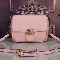 GUCCI women's elegant and elegant leather handbag F-LLBPFSH pink