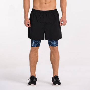 Mens Train Shorts 2 in 1 Compression Running Shorts With Spandex Boxer Quick drying GYM Fitness Jogging Basketball Sports Shorts