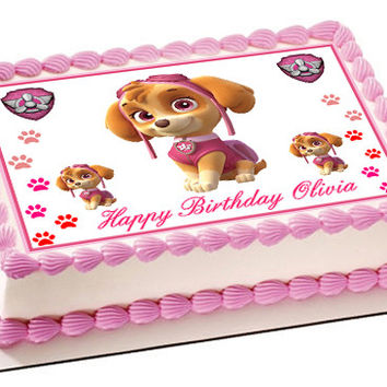 PAW PATROL SKYE 2 Edible Birthday Cake Topper OR Cupcake Topper, Decor