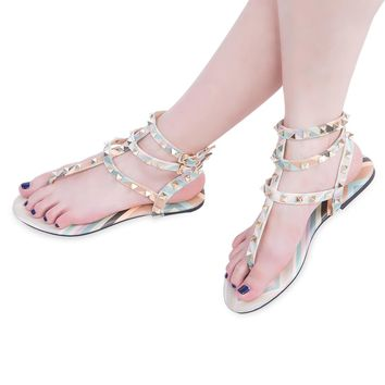 Ladies Rivet Print Ankle Strap Flat Flip-flop Shoes