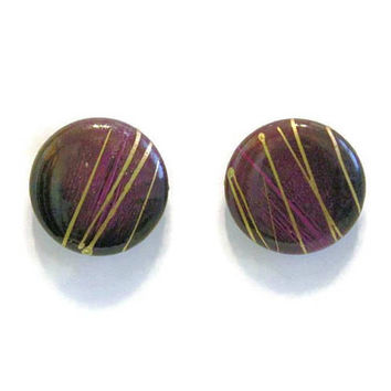 1980's Paint Splatter Button Earrings, Purple, Maroon, Black, And Gold