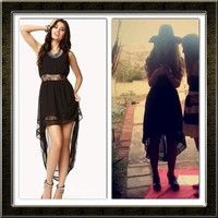 💃 Black High Low Long Dress With Lace 💃