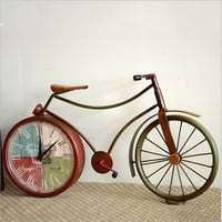 Vintage Weathered Strong Character Iron Bicyclex Home Accessory Decoration Pastoral Style Creative Clock [6282675654]