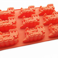DIY Cake Mold Soap Mould Candle Candy Chocolate Cake Fimo Resin Crafts 9-Locomotive Train Flexible Silicone Mold