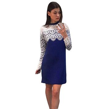Autumn Fashion Women Sexy Lace Dress Bodycon Bandage Ladies Elegant Long Sleeve Party Evening Short Mini Casual Dress