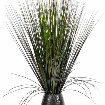 "30"" Tall Grass w/ Twigs in Black Ceramic Pot"
