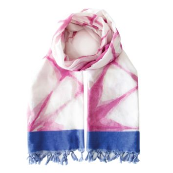 Summer Blanket Scarf - Pink Shibori - Damaged