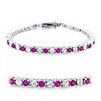 Ruby Sugar - FINAL SALE Diamond white and ruby red multiple cubic zirconia silver Rhodium Plated Brass tennis bracelet