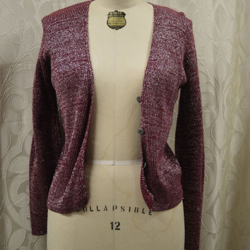 NEW VINTAGE, Maroon and Silver Cardigan, On Base - Macys Brand, Size large.