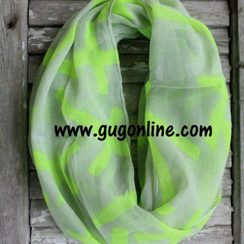 Tan with Neon Yellow Crosses Infinity Scarf
