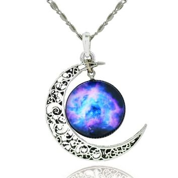Galaxy & Cosmic Moon Pendant Necklace, Purple Glass, 17.5'' Chain - ♥Christmas Gift♥ with Exquisite Package