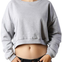 LE3NO PREMIUM Womens Oversized Long Sleeve Cropped Fleece Sweatshirt