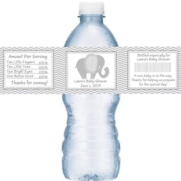 21 Grey Elephant Baby Shower Water Labels