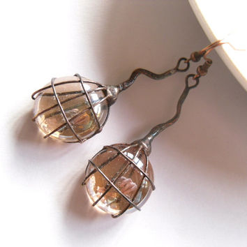 Contemporary jewelry, wire jewelry, beige glass lenses, artistic earrings, copper wire jewelry, funky jewelry, Beige berry
