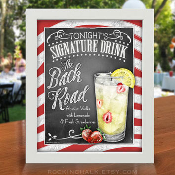 Signature Drink Sign | The Back Road | Vodka and Lemonade Cocktail Sign  | As-Is or Personalized Wedding Decoration or Summer Party Sign