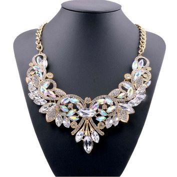 2016 New Hot Fashion Necklaces & Pendants Multi-color Crystal Bib Statement Necklace Water Dop Crystal Necklace Vintage Jewelry