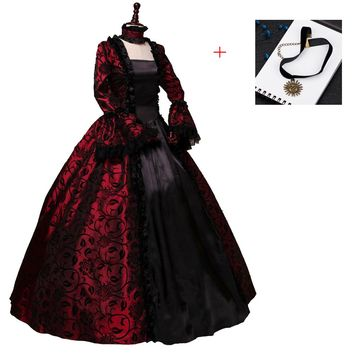 Renaissance Victorian Dress Ball Gown Vampire Halloween/Southern Belle Costume Historical Stage Clothing