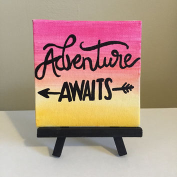Adventure Awaits Mini Easel Canvas