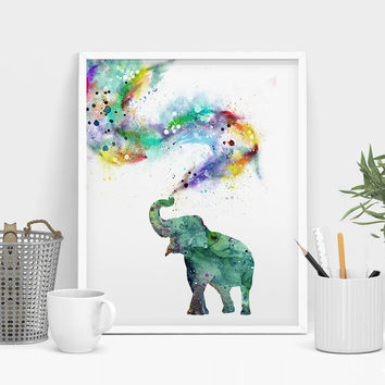 Nursery Wall Art Nursery Decor Nursery Prints Animal Prints Watercolor Elephant Art Print Poster Watercolor Painting  (356)