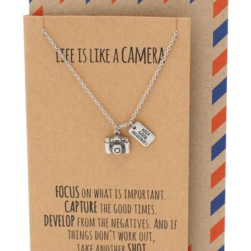 Ida Cute Camera Miniature Pendant Necklace for Women, Photography Gifts, Gifts for Best Friends, Selfie Lovers, Comes with Inspirational Quote Card