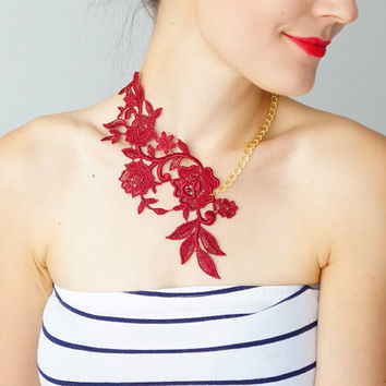Lace Necklace Statement Necklace Summer Fashion Summer AccessoryLace Fashion Burgundy Necklace Floral Necklace Women Accessory Gift/ LASATA