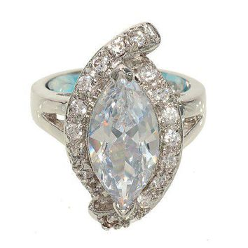 Large Marquis Single Stone Silvertone Fashion Ring with Asymmetrical Sides Set with Clear Cubic